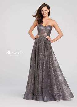 Queenly size 14 Ellie Wilde Silver A-line evening gown/formal dress