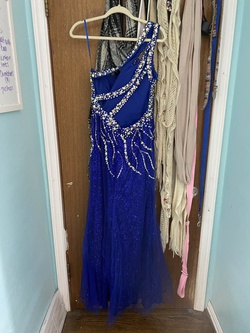Dancing Queen Blue Size 12 Prom One Shoulder Sequin Mermaid Dress on Queenly