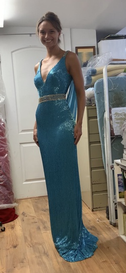 Sherri Hill Blue Size 4 Backless Tall Height Straight Dress on Queenly