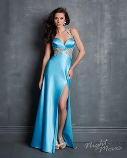 Queenly size 8 Night Moves Blue Side slit evening gown/formal dress