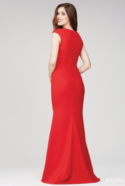 Style 26312 Jovani Red Size 10 Cap Sleeve Plunge Mermaid Dress on Queenly