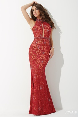 Style 26927 Jovani Red Size 6 Prom Halter Mermaid Dress on Queenly