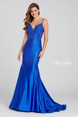 Style 120012 Ellie Wilde Blue Size 2 Tall Height Mermaid Dress on Queenly