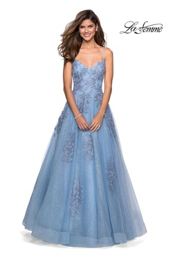 Style 27492 La Femme Blue Size 4 Ball gown on Queenly