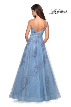 Style 27492 La Femme Blue Size 8 Ball gown on Queenly