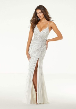 Style 43001 Mori Lee White Size 2 Plunge Backless Side slit Dress on Queenly