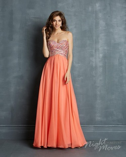 Queenly size 4 Madison James Orange A-line evening gown/formal dress