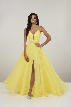 Queenly size 8 PANOPLY Yellow Side slit evening gown/formal dress