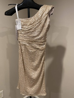 BILL LEVKOFF Gold Size 8 Sorority Formal Sequin Cocktail Dress on Queenly