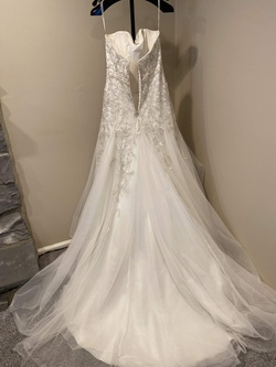 Demetrios White Size 12 Sweetheart Plus Size Lace Ball gown on Queenly