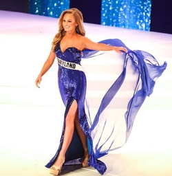 Ashley Lauren Blue Size 4 Pageant Liquid Beading Side slit Dress on Queenly