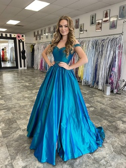 Jovani Blue Size 4 Green Custom Ball gown on Queenly