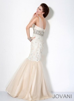 Style 158908 Jovani White Size 8 Tall Height Fitted Mermaid Dress on Queenly