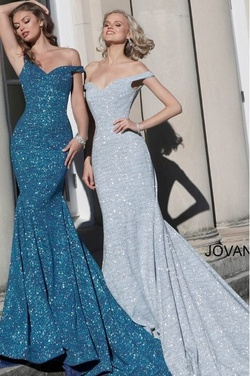Style 601220 Jovani Blue Size 14 Navy Mermaid Dress on Queenly