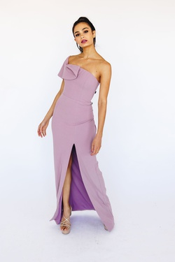 Style B38D22 Bariano Purple Size 8 Homecoming Lavender Prom One Shoulder Side slit Dress on Queenly