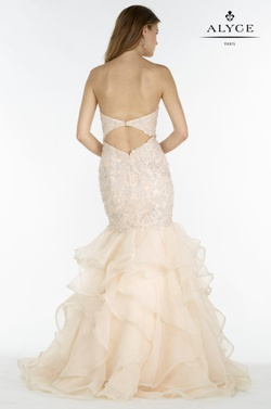 Style 6747 Alyce Paris Gold Size 10 Tulle Backless Tall Height Fitted Mermaid Dress on Queenly