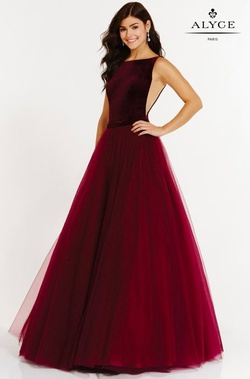 Style 6792 Alyce Paris Red Size 6 Pageant Sheer Prom Ball gown on Queenly
