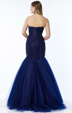 Style 6751 Alyce Paris Blue Size 4 Tulle Tall Height Mermaid Dress on Queenly