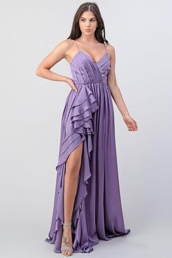 Queenly size 12 Minuet Purple Side slit evening gown/formal dress
