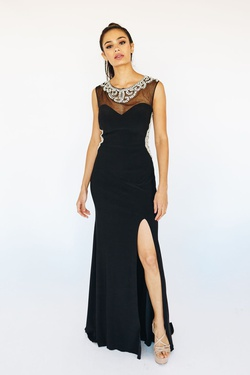 Queenly size 12 McKenzie Rae Black Side slit evening gown/formal dress