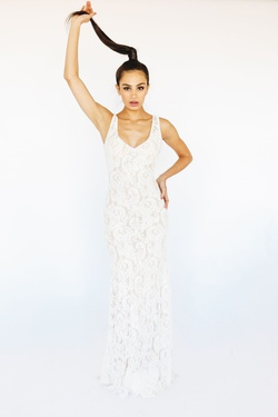 Style 9375 McKenzie Rae White Size 6 Backless Tall Height Lace Fitted Straight Dress on Queenly
