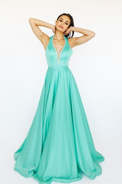 Queenly size 6 McKenzie Rae Green A-line evening gown/formal dress