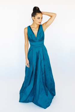 Style LD1774 Mia Paluzzi Blue Size 6 Plunge Tall Height A-line Dress on Queenly