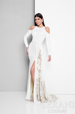Style 1713E3626 Terani Couture White Size 4 Pageant Long Sleeve Side slit Dress on Queenly