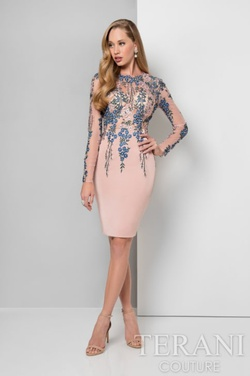 Style 1711C3027 Terani Couture Pink Size 8 Interview Long Sleeve Sequin Cocktail Dress on Queenly