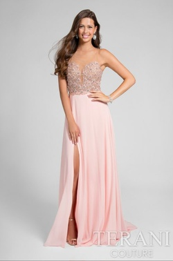 Style 1712P2512 Terani Couture Pink Size 10 Tulle Bridesmaid Side slit Dress on Queenly