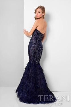 Style 1711GL3532 Terani Couture Black Size 4 Prom Pageant Feather Mermaid Dress on Queenly