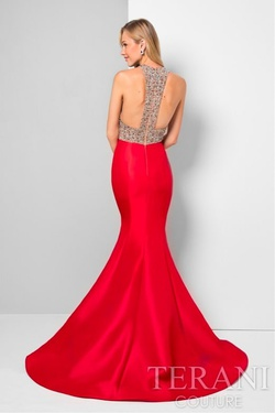 Style 1712P2457 Terani Couture Red Size 4 Pageant Sequin Fitted Mermaid Dress on Queenly