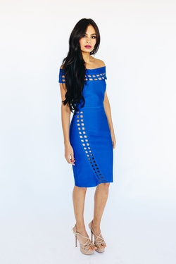 Style K5577 Wow Blue Size 6 Cocktail Dress on Queenly