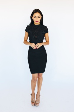 Style 39455 Wow Black Size 10 Sorority Formal Tall Height Wedding Guest Cocktail Dress on Queenly