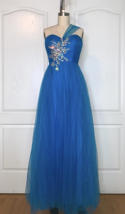 Blush Blue Size 00 Spaghetti Strap Strapless A-line Dress on Queenly