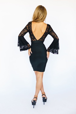 Style K5966 Wow Black Size 2 Sheer Tall Height Wedding Guest Cocktail Dress on Queenly