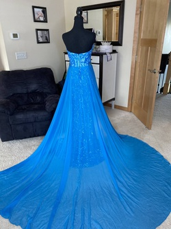 Fernando Wong Blue Size 6 Strapless Mermaid Pageant Train Dress on Queenly