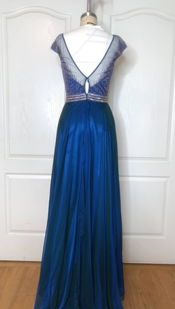 Tony Bowls Blue Size 2 Sheer Straight Dress on Queenly