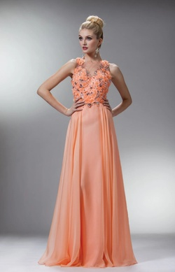 Queenly size 4  Orange A-line evening gown/formal dress