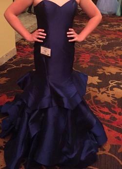Alyce Paris Blue Size 8 Ruffles Sweetheart Mermaid Dress on Queenly