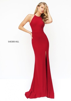 Style 32340 Sherri Hill Red Size 6 Side slit Dress on Queenly