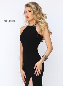 Style 32340 Sherri Hill Black Size 2 Side slit Dress on Queenly