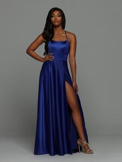 Style 71934 Sparkle Prom by Da Vinci Blue Size 8 Side slit Dress on Queenly