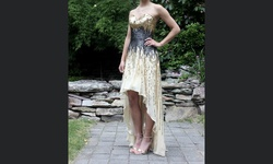La Femme Gold Size 00 Jewelled Sweetheart A-line Dress on Queenly