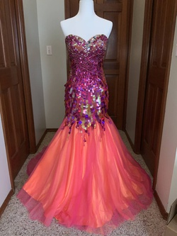Queenly size 4  Orange Mermaid evening gown/formal dress