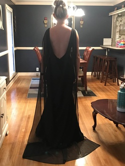 Jovani Black Size 2 Backless Cape Train Dress on Queenly