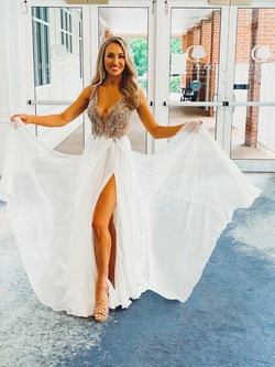 Jovani White Size 2 Pageant Tulle Side slit Dress on Queenly