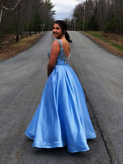 Queenly size 12 Mac Duggal Blue A-line evening gown/formal dress