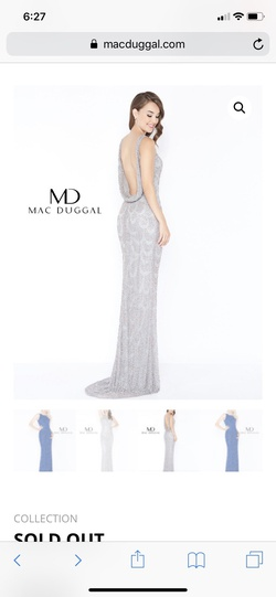 Mac Duggal Silver Size 6 Pageant Prom Straight Dress on Queenly