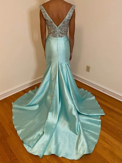 Mac Duggal Blue Size 2 Pageant Silk Train Dress on Queenly
